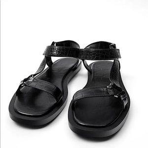 Zara Black Velcro Strap Leather Sandals 😎